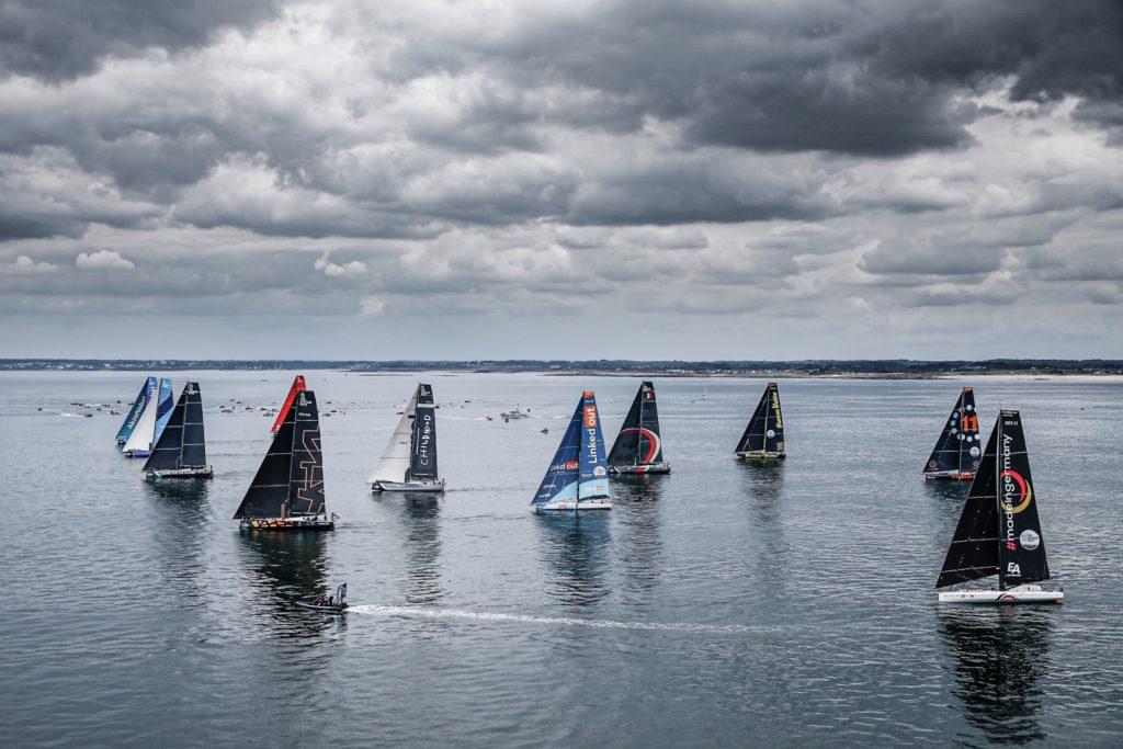 Europe, Leg 1, Lorient, aerial, departure, fleet, start, start line