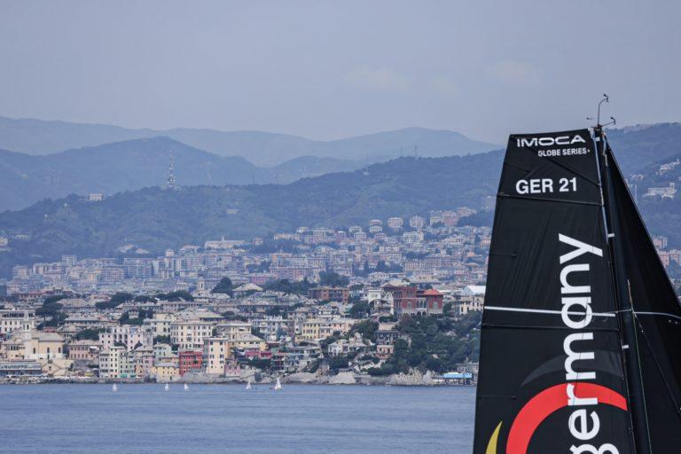 Europe, Genoa, IMOCA, Offshore Team Germany, aerial, arrivals, finish, leg 3