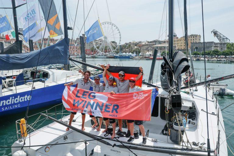 Europe, Genoa, IMOCA, Offshore Team Germany, arrivals, finish, flag, leg 3, winners
