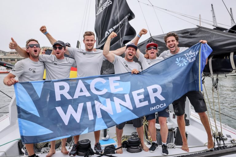 Coastal, Europe, Genoa, IMOCA, Offshore Team Germany, celebration, flag, winners